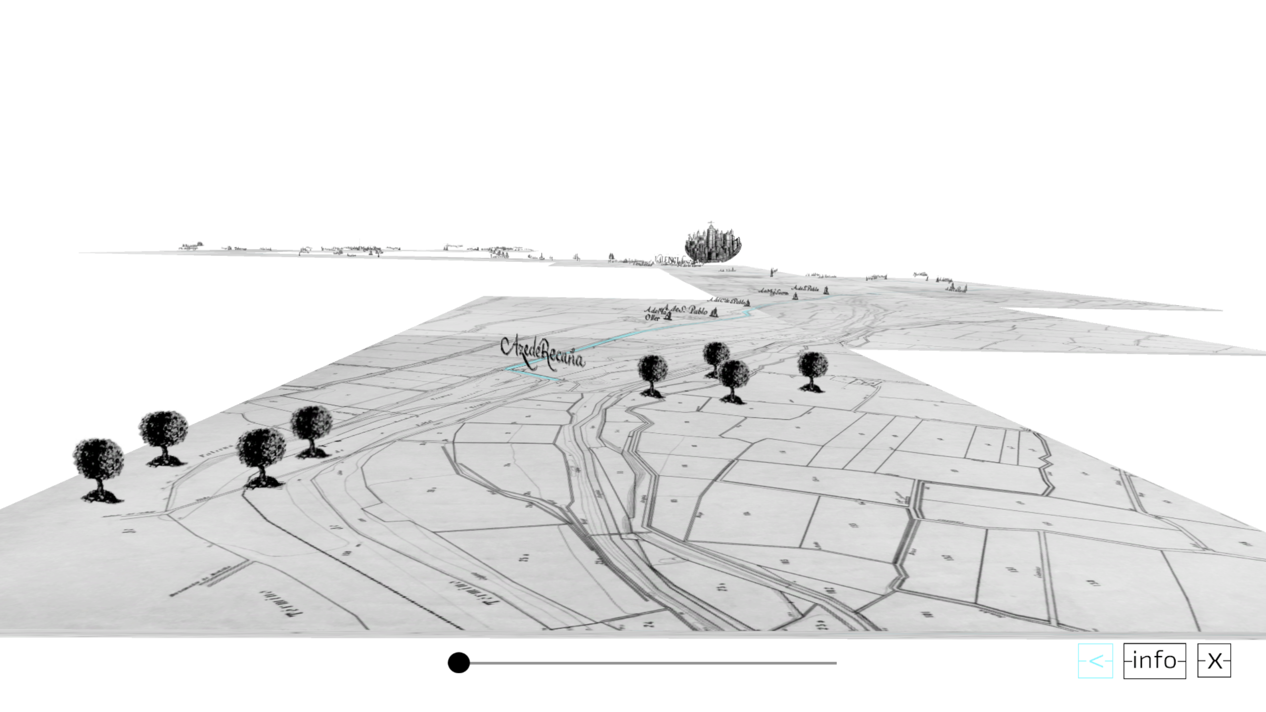 segunda escena la composición de las dos cartografías en tres dimensiones